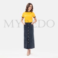 Myredo - Rok Jeans Panjang Button Up Maxi Skirt Snow Black Aysha