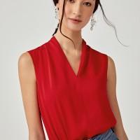 Rosaleen V-neck Blouse - Red