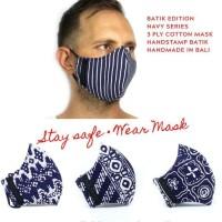 NILUH DJELANTIK Masker Kain 3 Ply - Katun Batik Cap - NAVY SERIES