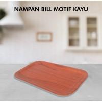 Nampan Bill Tray/Bon/Nota Motif Kayu ukuran 13,5x23,5cm