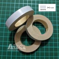 Lis Pelek Polos (Strip/List Velg) Putih / Silver 1cm Scotlite Sticker