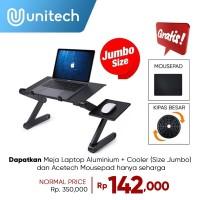 Meja Laptop Alumunium Portable Kipas Besar I Robot T6