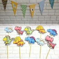 topper toper hiasan tusukan cup cake ulang tahun karakter dinosaurus