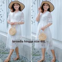 Midi Dress Renda Putih Lace Brukat Pesta Boho Bohemian Pantai Bangkok