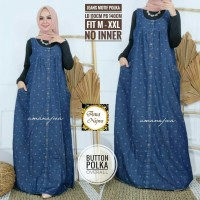Button polka overall dress jeans motif