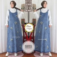 Bougenville overall dress jeans bordir ori motif bunga