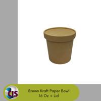 Food Grade Brown Kraft Paper Bowl 16 Oz + Lid