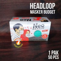 Neo Health Masker Hijab Sekali Pakai / Disposable Headloop Mask 50 pcs
