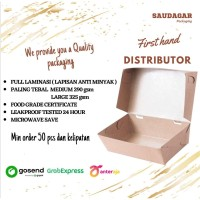 PAPER LUNCH BOX BAHAN KRAFT/ CRAFT FULL LAMINASI SIZE M & L - LUNCHBOX MEDIUM