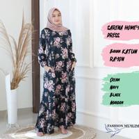 SARENA HOMEY DRESS Baju Atasan Muslim Wanita Gamis Dress Wanita Motif