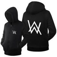JAKET ZIPPER HOODIE PRIA WANITA ALAN WALKER FASHION GAUL COTTON FLEECE - Putih, S