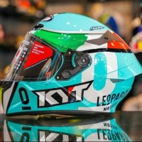 Helm Kyt Tt Course Dalla Porta Locatelli Leopard Blue Flat Visor Keren