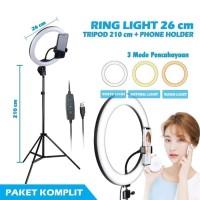 RING LIGHT LED 26CM WITH GRIP TRIPOD 210CM HOLDER LAMPU VLOG GU ID111