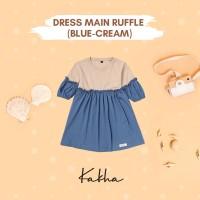 Kakha Series – Dress Main Ruffle (Daster bayi / daster anak) - Blue-Cream, L
