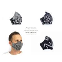 NILUH DJELANTIK Masker Kain 3 Ply - Katun Batik Cap - BLACK SERIES