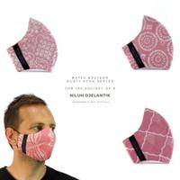 NILUH DJELANTIK Masker Kain 3 Ply - KATUN BATIK CAP-DUSTY PINK SERIES