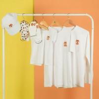 Pop Kidswear Shiba White Couple tee - kaos keluarga dog squad putih