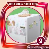 Taplak Penutup Kulkas Waterproof Cover Kulkas dgn Storage Pouch CK001