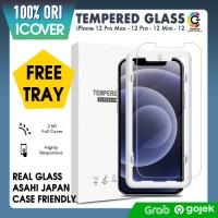 Original iCover Tempered Glass iPhone 12 Pro Max 12 12 Mini Anti Gores - 2.5D, iPhone 12ProMax