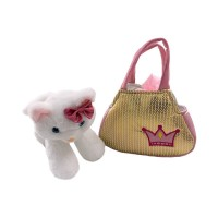 pretty missy boneka plush whte cat with crown bag