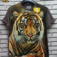 Kaos 3D Size XL Fullprint Thai Cotton Combed 30s Baju Harimau Macan