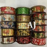 Spesial Pita Kado Dekorasi Natal Motif Merry Christmas Ribbon 1,25