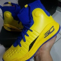 Sepatu Basket U.A Curry 4 Yellow Blue Man Murah