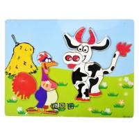 Mainan Edukasi Anak Puzzle Kayu Stiker Gambar Hewan Ternak Ayam Sapi