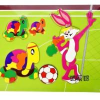 Mainan Edukasi Anak Puzzle Kayu Stiker Gambar Hewan Kura Kelinci