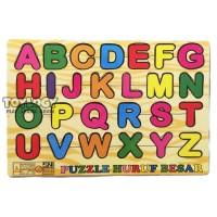 Mainan Edukasi Anak Puzzle Kayu Abjad Alphabet Huruf Besar Kapital ABC