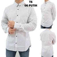 Kemeja Pria TS 06 Putih Motif Kotak - Baju Kerja Formal Lengan Panjang