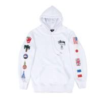 Hoodie Pria / Wanita Stussy World Tour Flags Hoodie White Original