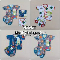 Velvet junior setelan baju bayi lengan pendek celana pop newborn 0-3m