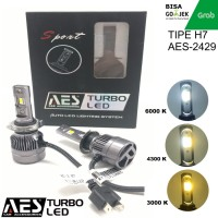 Turbo led H7 3 WARNA MERK AES PREMIUM LED Headlamp Mobil Motor
