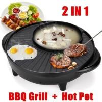 2in1 Panci Hotpot BBQ Elektrik 34 cm Shabu Steampot Suki Grill Listrik