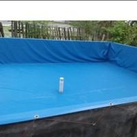 kolam terpal kotak 2x4x0.80 bahan semi karet orchid plus drainase