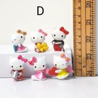 hello kitty chibi figure set isi 6 topper cake mainan