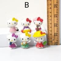 mainan figure hello kitty chibi set 6 B hiasan mobil topper cake