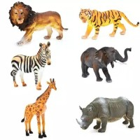 Animal Toys Set Figure Binatang Singa Macan Badak Gajah Zebra Jerapah