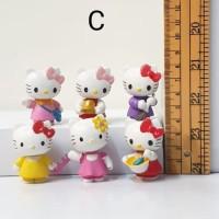 mainan figure hello kitty chibi set 6 C hiasan mobil topper cake
