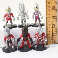 Figure Ultraman Chibi Set 6 pcs Topper Kue Ultah