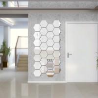HEXAGONAL Mirror Wall Stiker Acrylic Hiasan dinding (isi 7)