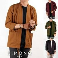 Kimono WOLV Outer Pria Loose Casual Lengan Panjang