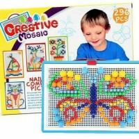 Mainan Edukasi Anak Creative Mosaic Puzzle Papan Paku Jamur Isi 296