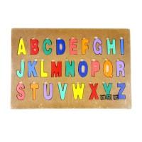 Mainan Edukasi Anak Wooden Puzzle Kayu Cat Alphabet Abjad Huruf Besar