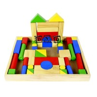 Mainan Edukasi Anak Balok Bangun Kayu City Blok 50B Pcs Bingkai Besar