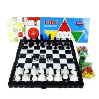 Mainan Keluarga Family Board Game Catur 4 in 1 Halma Ular Tangga Ludo
