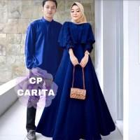 Gamis Couple Carita Moscrepe Fashion Muslim Keluarga Terbaru - Navy