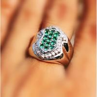 Batu Cincin Pria Fashion Green Topaz Tabur Bentuk Terompah