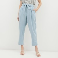 NONA Basic High Waist Pants Dusty Blue